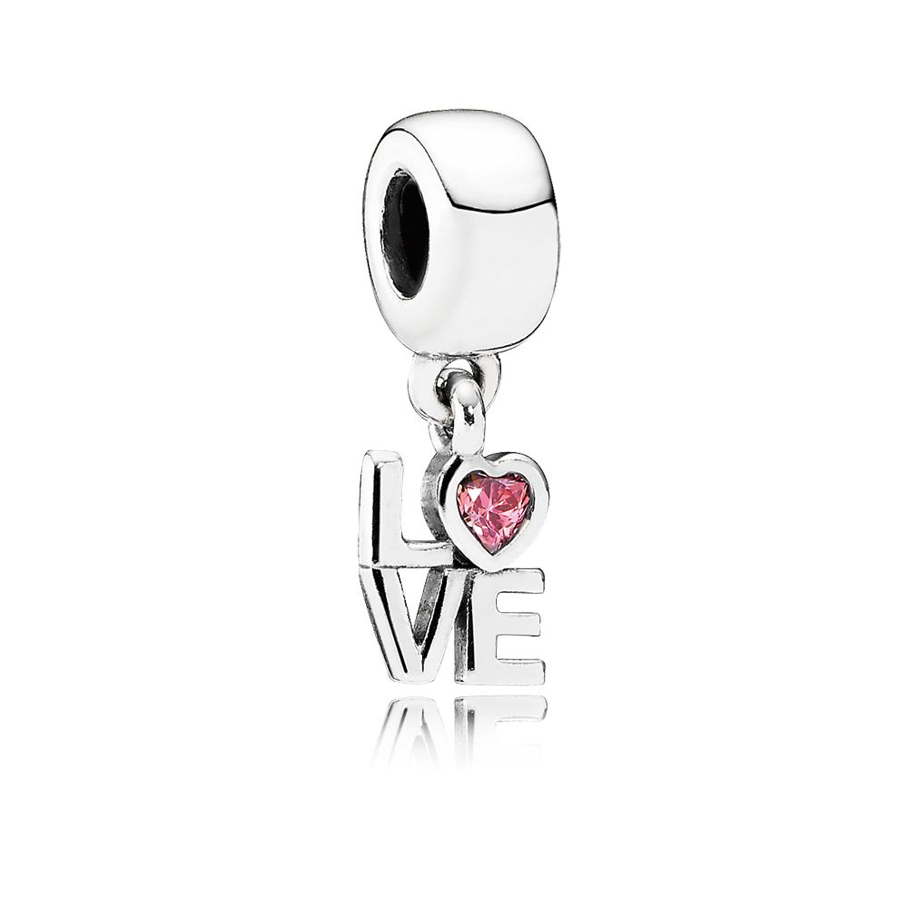LOVE silver dangle with salmon cubic zirconia