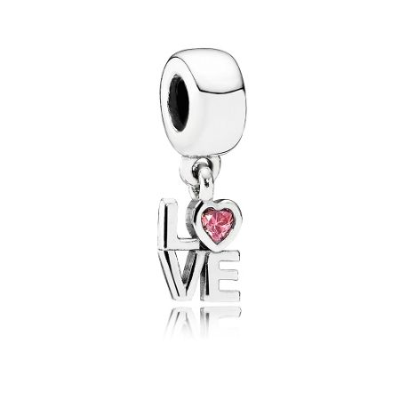 Pandora LOVE silver dangle with salmon cubic zirconia