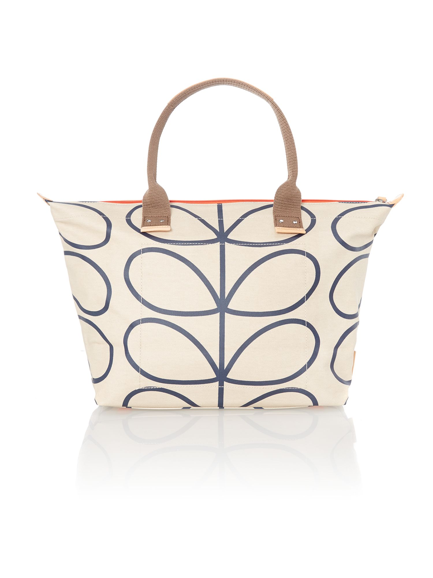 Stem print neutral tote bag