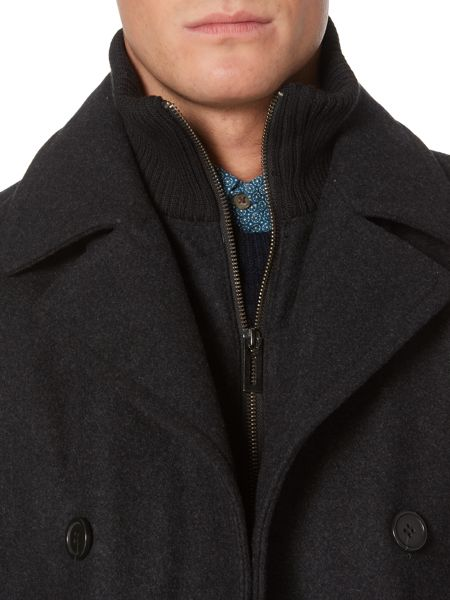 Linea Lincoln Long Funnel Utility Wool Coat