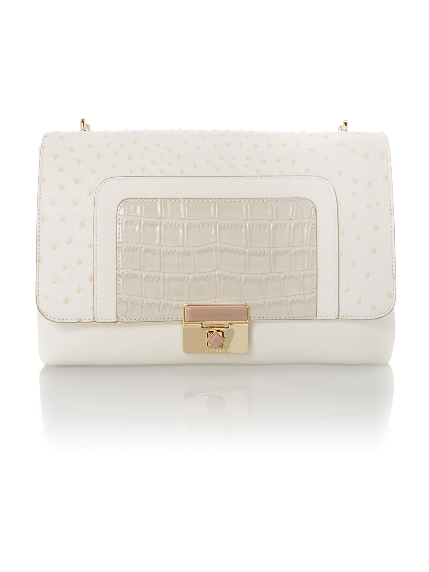 White mila large flapover shoulder bag