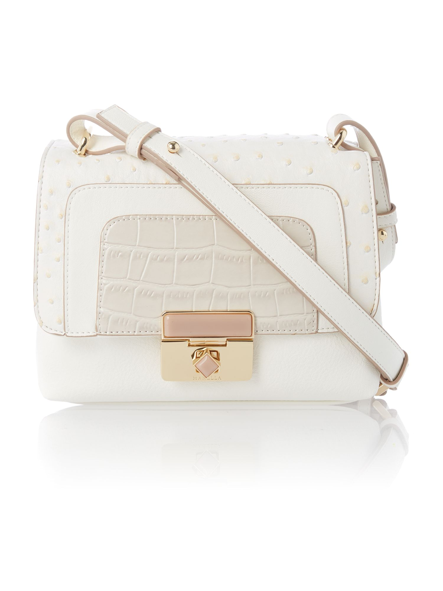 White mila mini flapover shoulder bag
