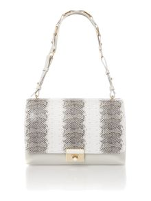 Taupe and white mila leather shoulder bag