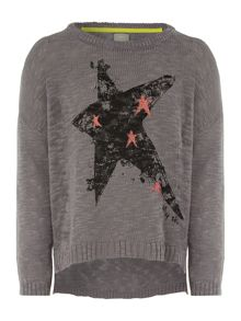 Girls batwing star print knit