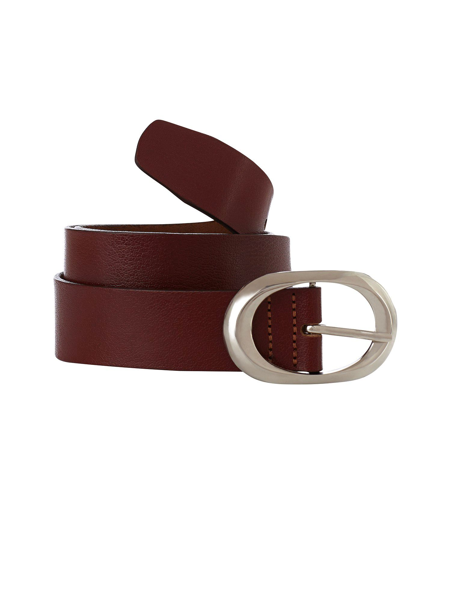 Dark tan leather jeans belt