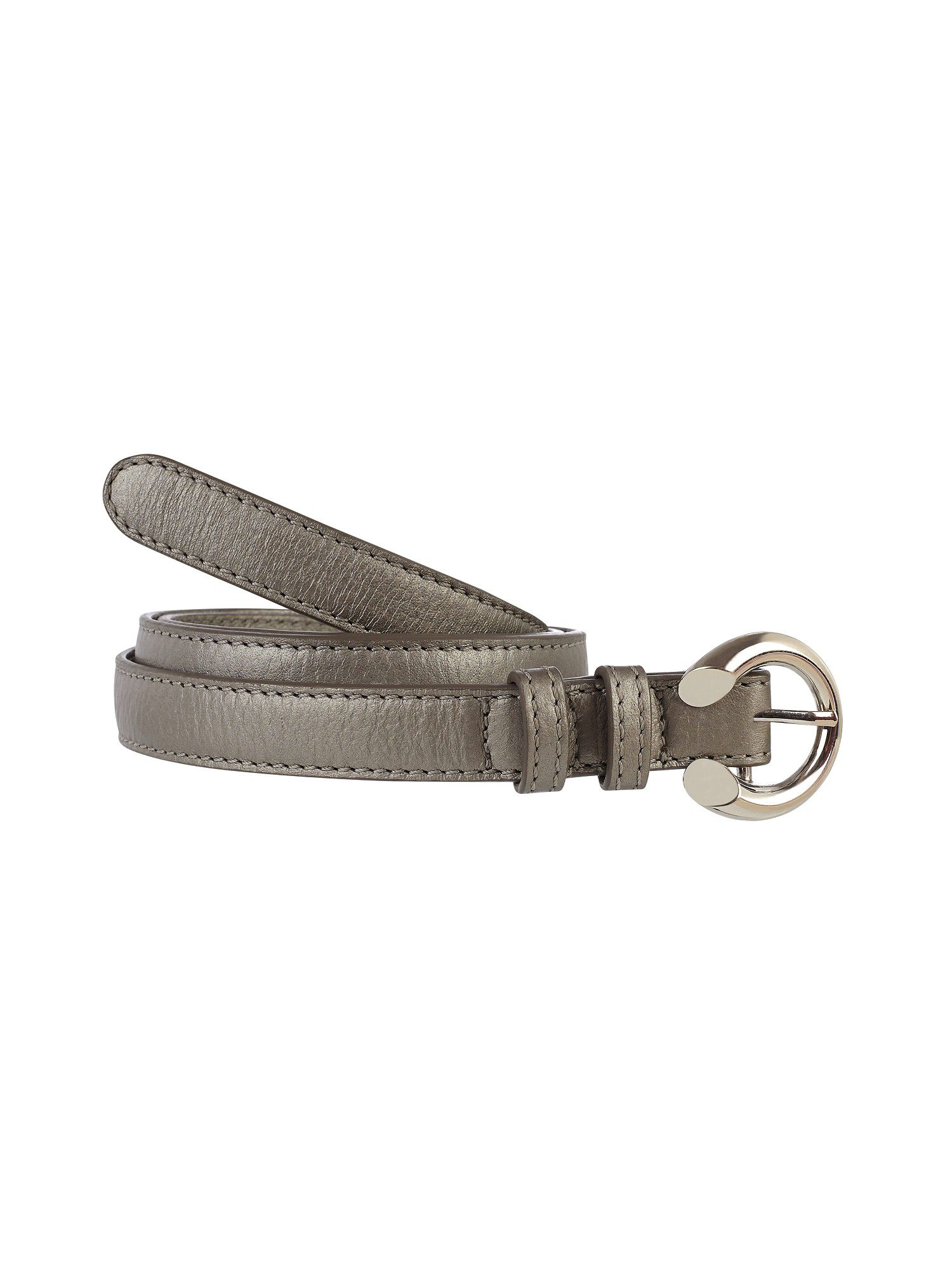Metallic skinny leather belt
