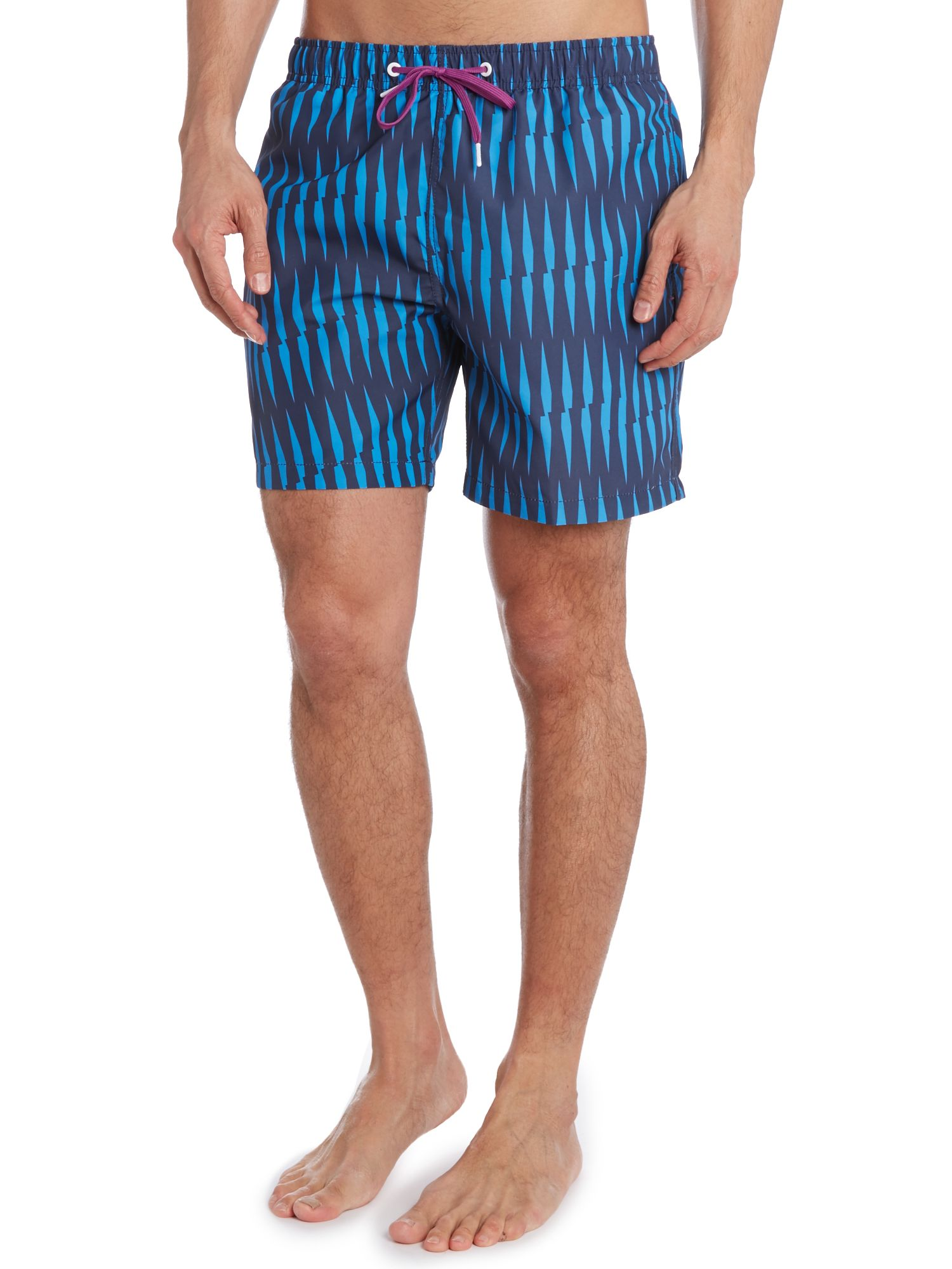 Criss cross stripe swim short
