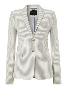 Long sleeved striped linen jacket