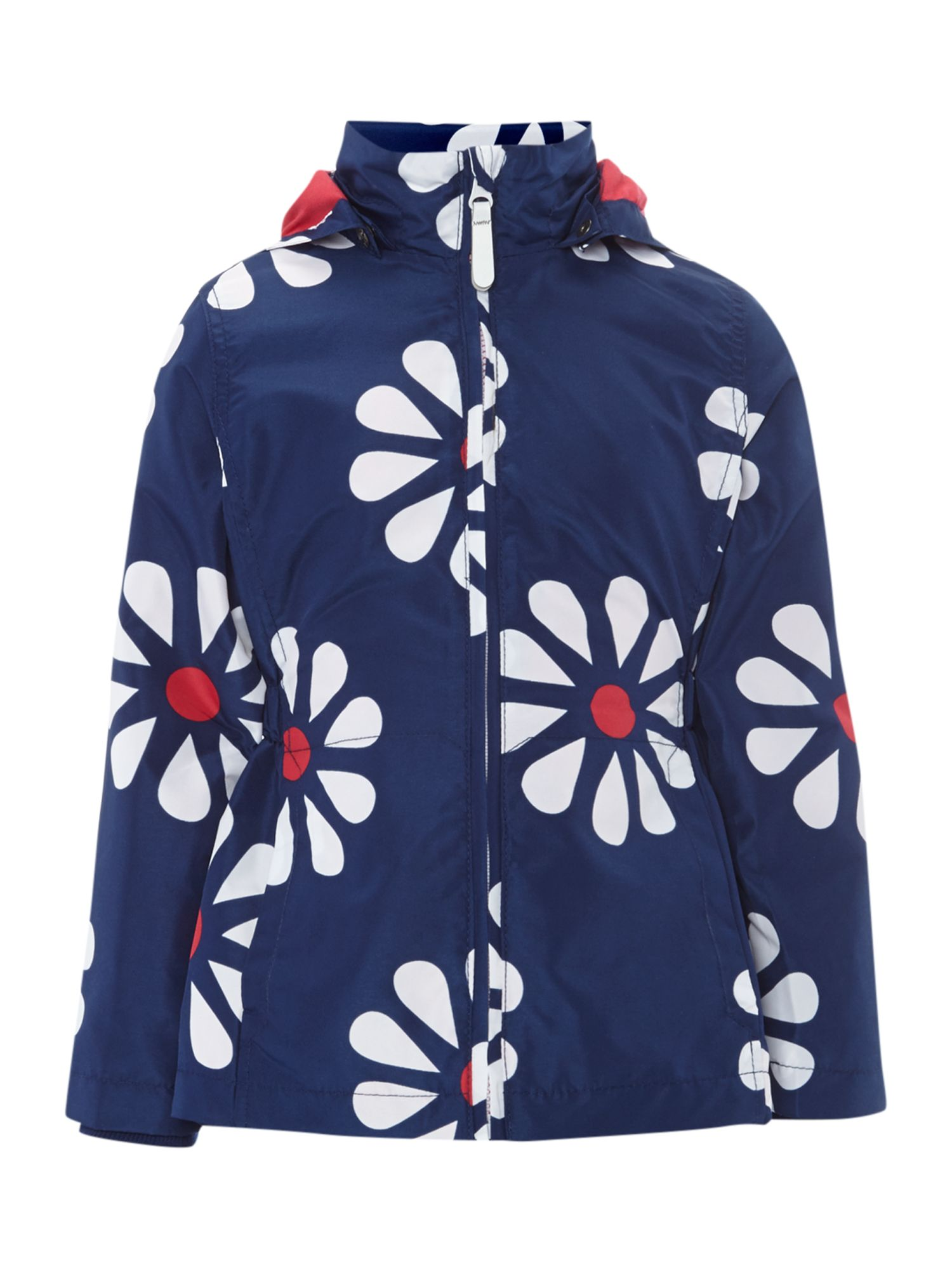 Girls flower print jacket with detachable hood