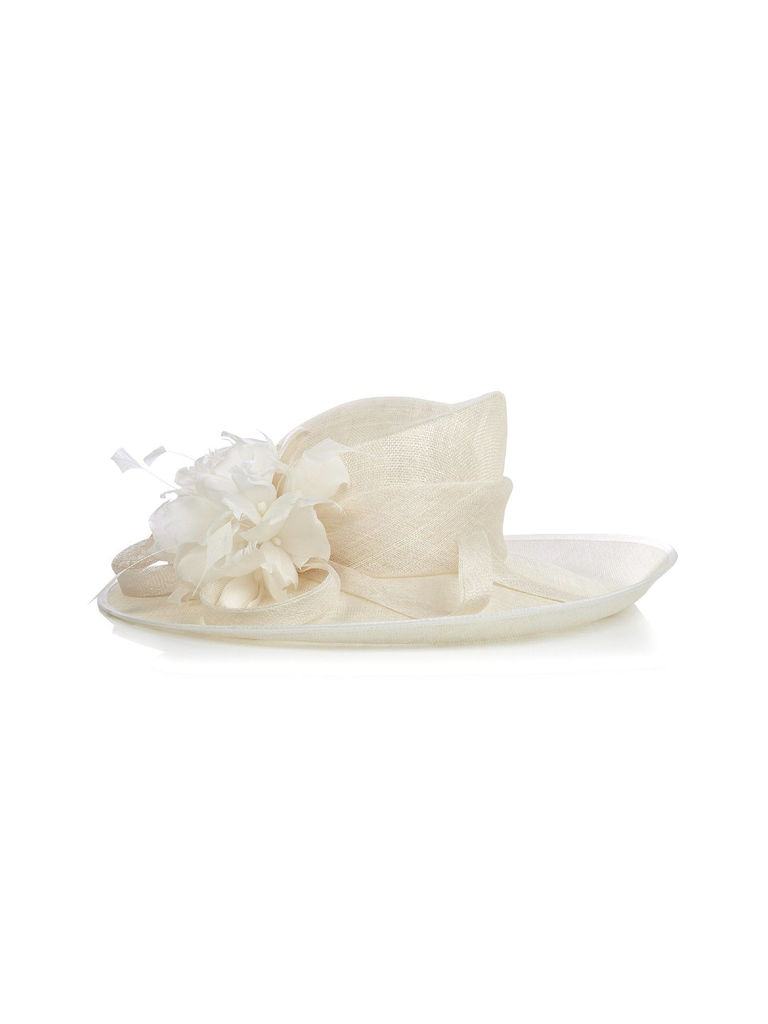 Feather flower cream hat