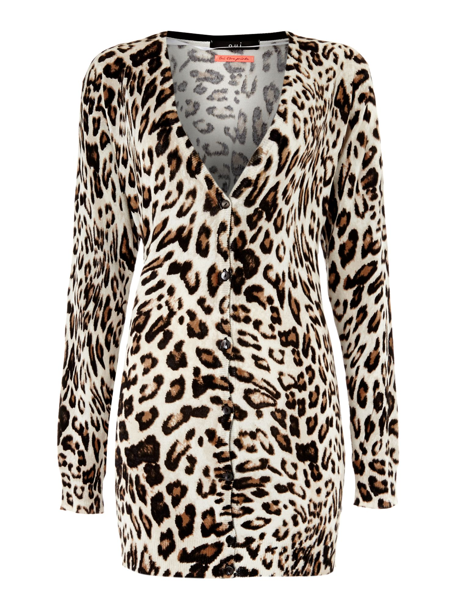 Long sleeved leopard print cardigan