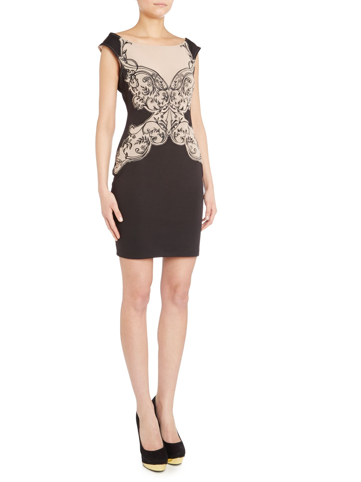 Sheer top lace bodycon dress