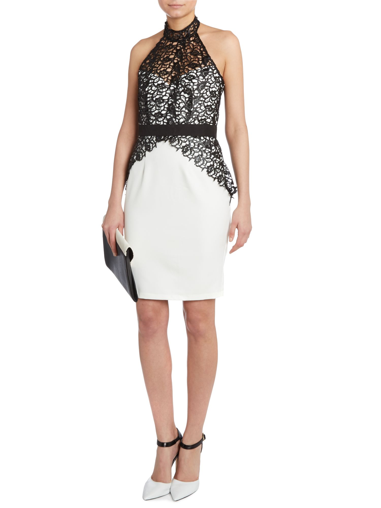 Kardashian Kollection lace halter bodycon dress