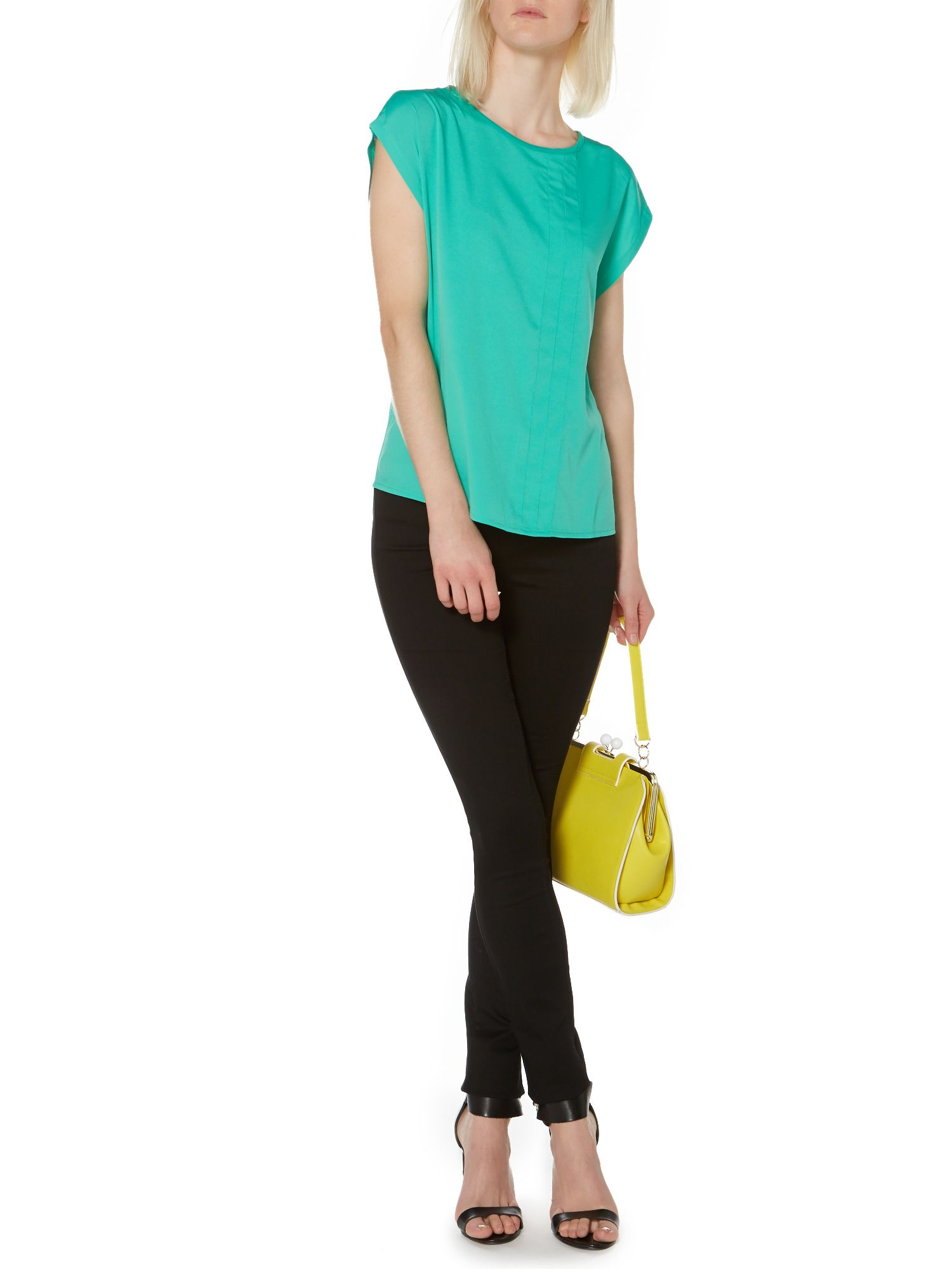 Pleat front jersey back t-shirt