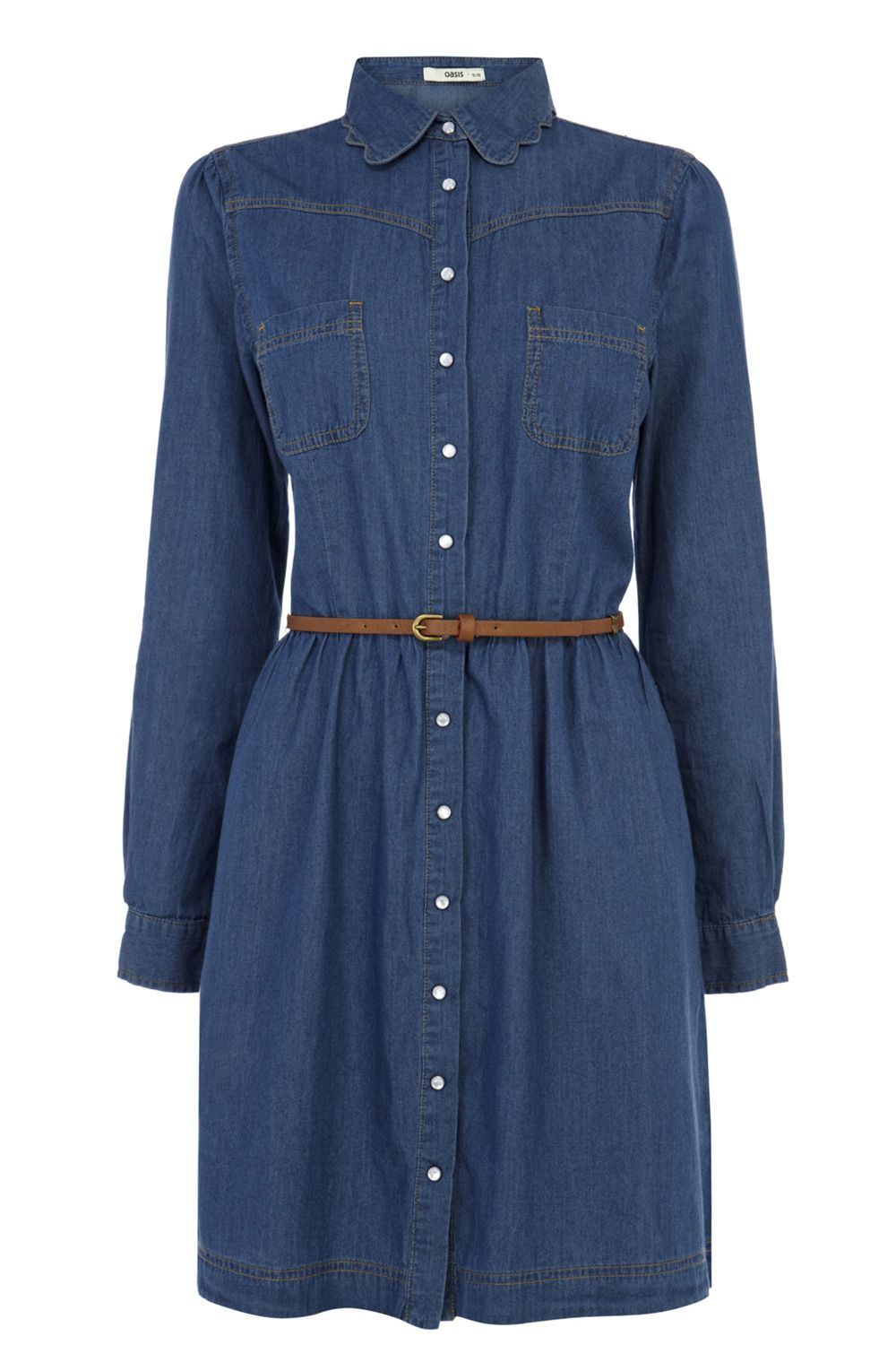 Scallop collar shirt dress