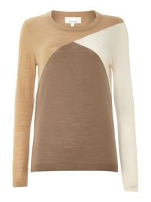 Machine washable merino colourblock jumper