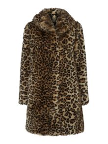 Leopard portobello faux fur coat