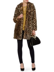 Leopard portobello fur coat