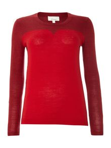 Machine washable merino notch neck jumper