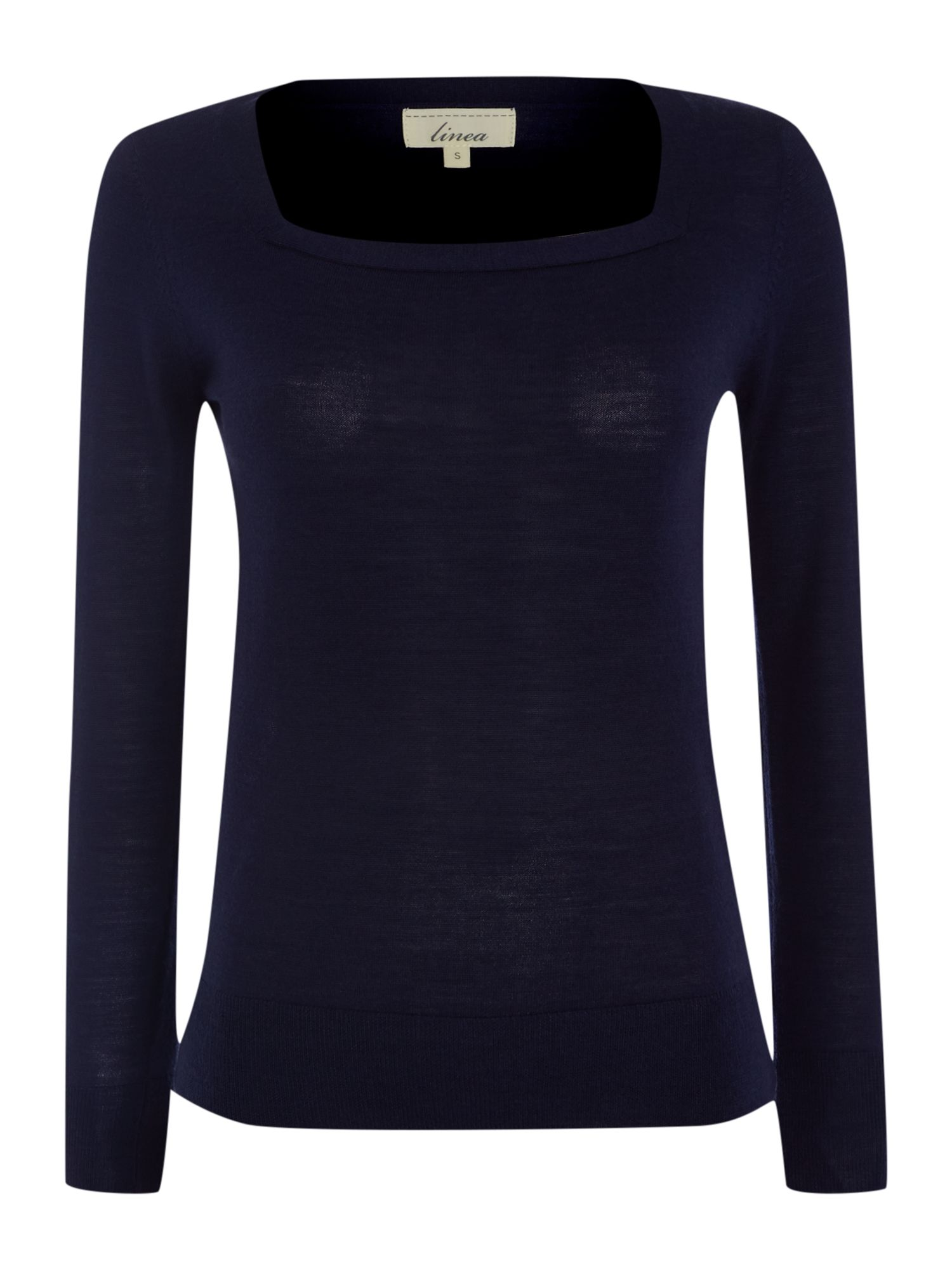 Merino square neck l/s jumper