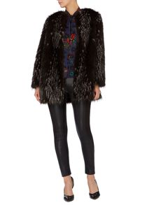 Speckle collarless coat