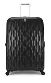 Liquis embossed black 4 wheel hard large suitcase