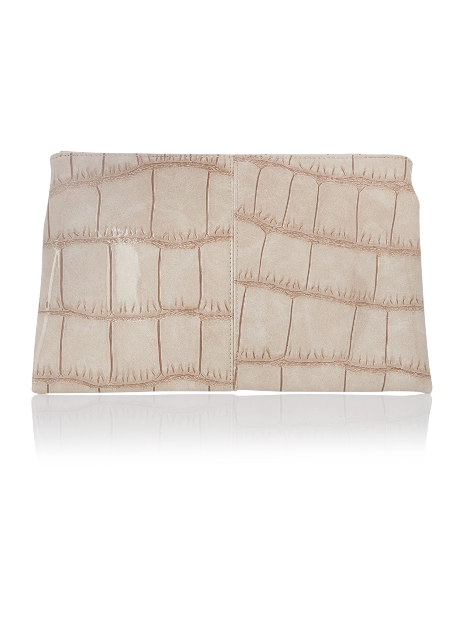 Tan patent envelope clutch