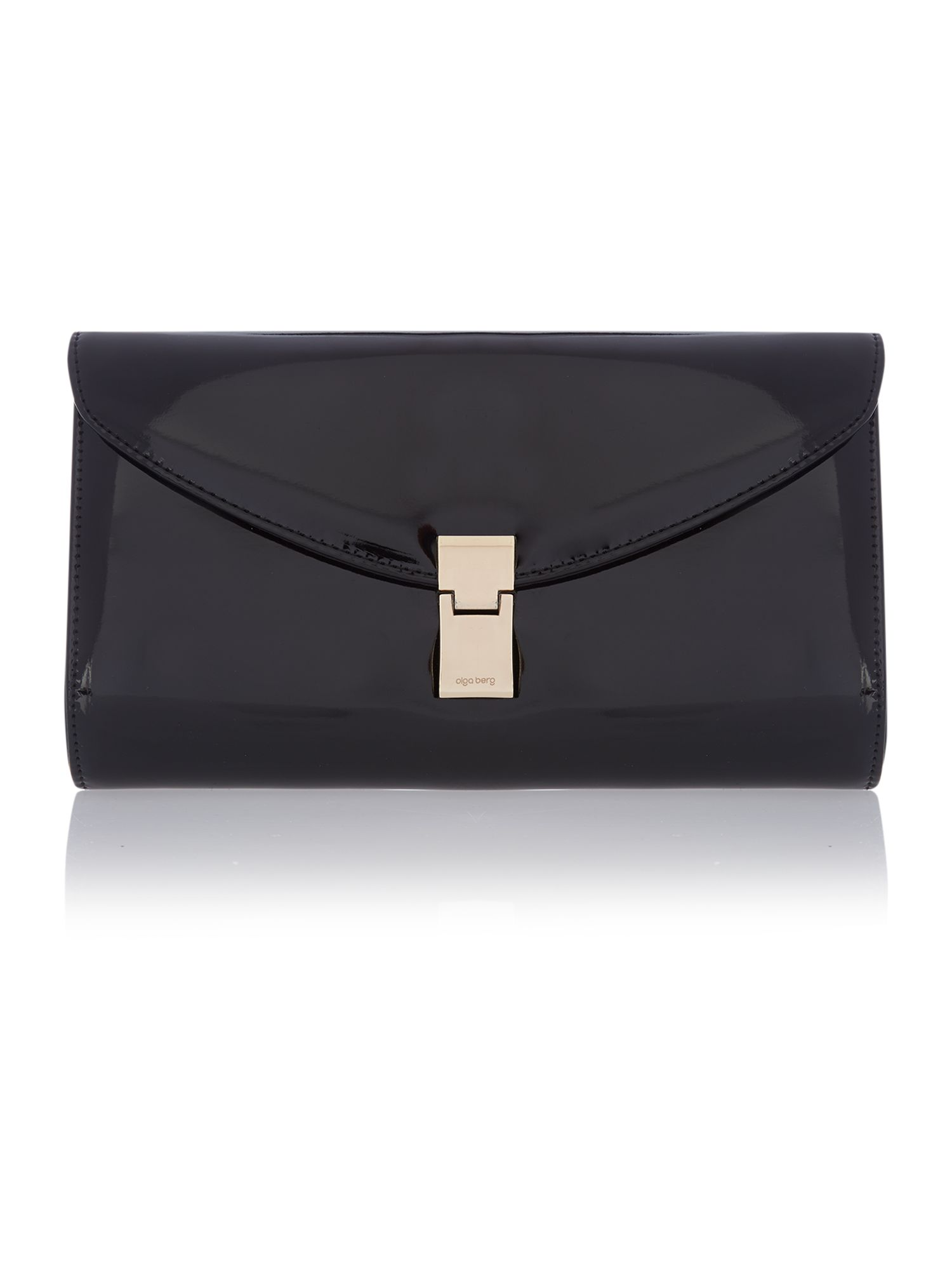 Black patent clutch bag