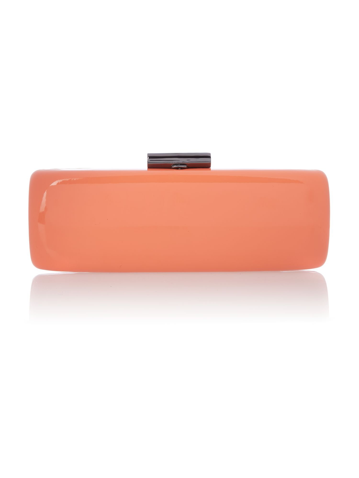 Coral patent clutch bag