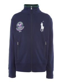 Kids Wimbledon crest funnel neck sweat