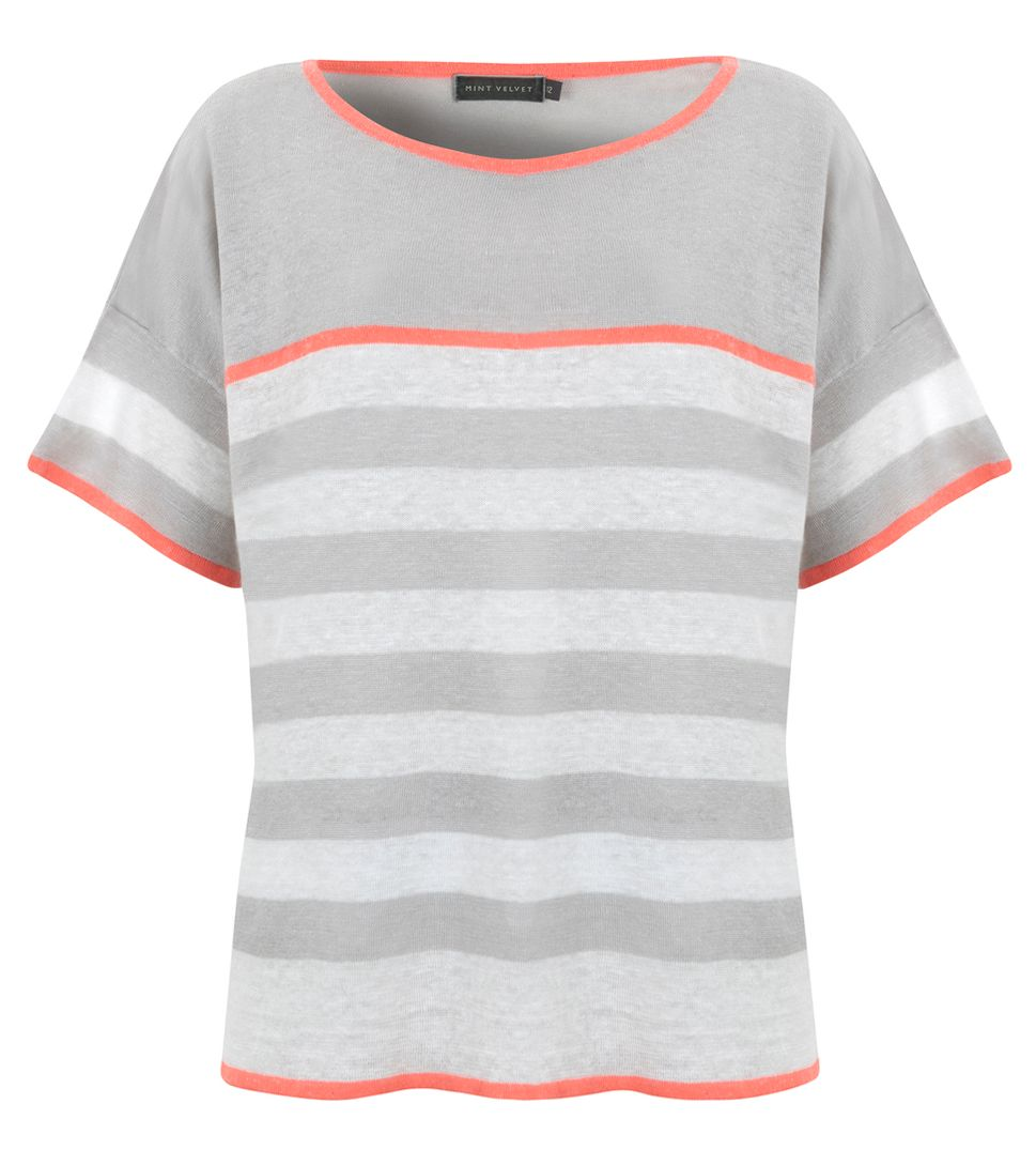 Boxy stripe neon trim knit