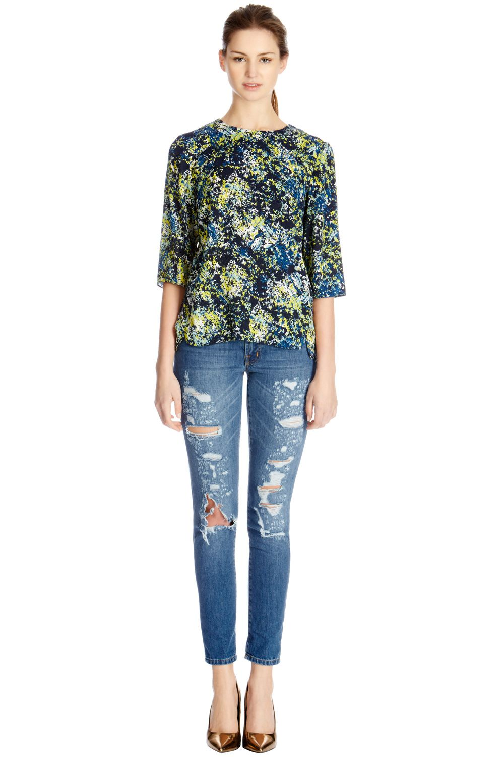 Texture floral elbow sleeve top