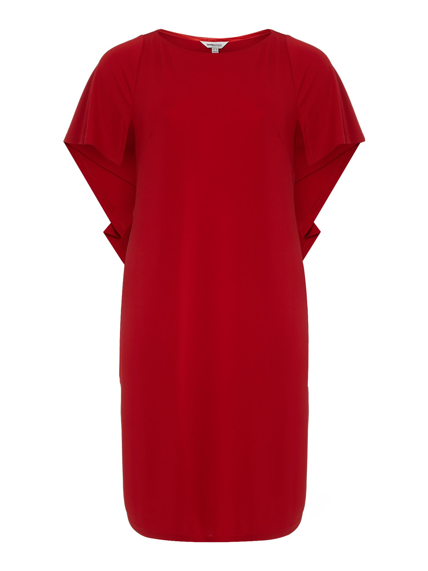 Crepe cape sleeve shift dress