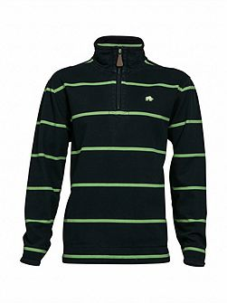 Big and Tall Stripe quarter zip neck hoodie