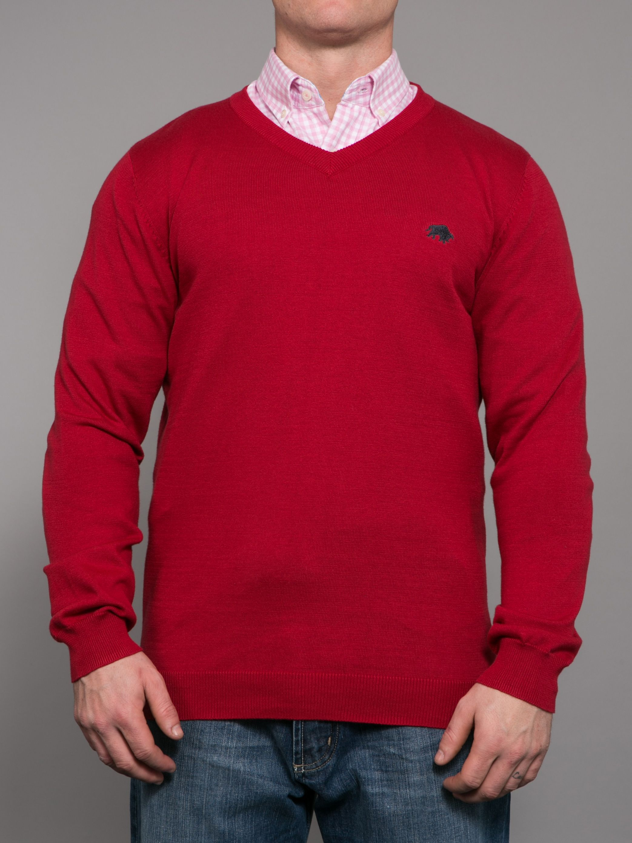 Big and Tall Pima cotton v-neck jumper