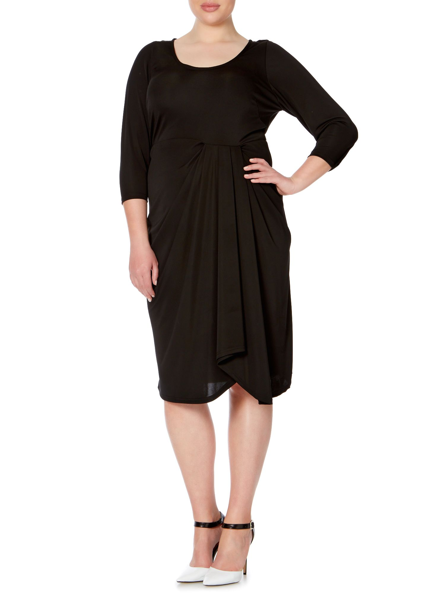 3/4 sleeve gathered front dress