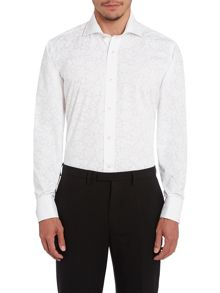 Ted Baker Pluton regular fit double cuff jacquard shirt