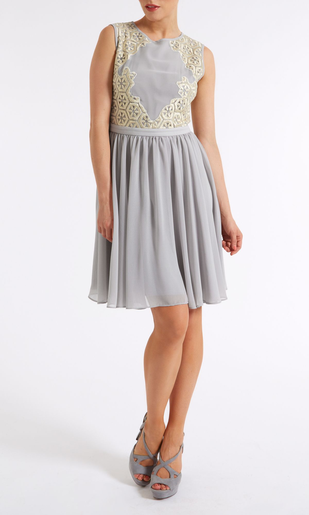 Metallic embroidery panel dress