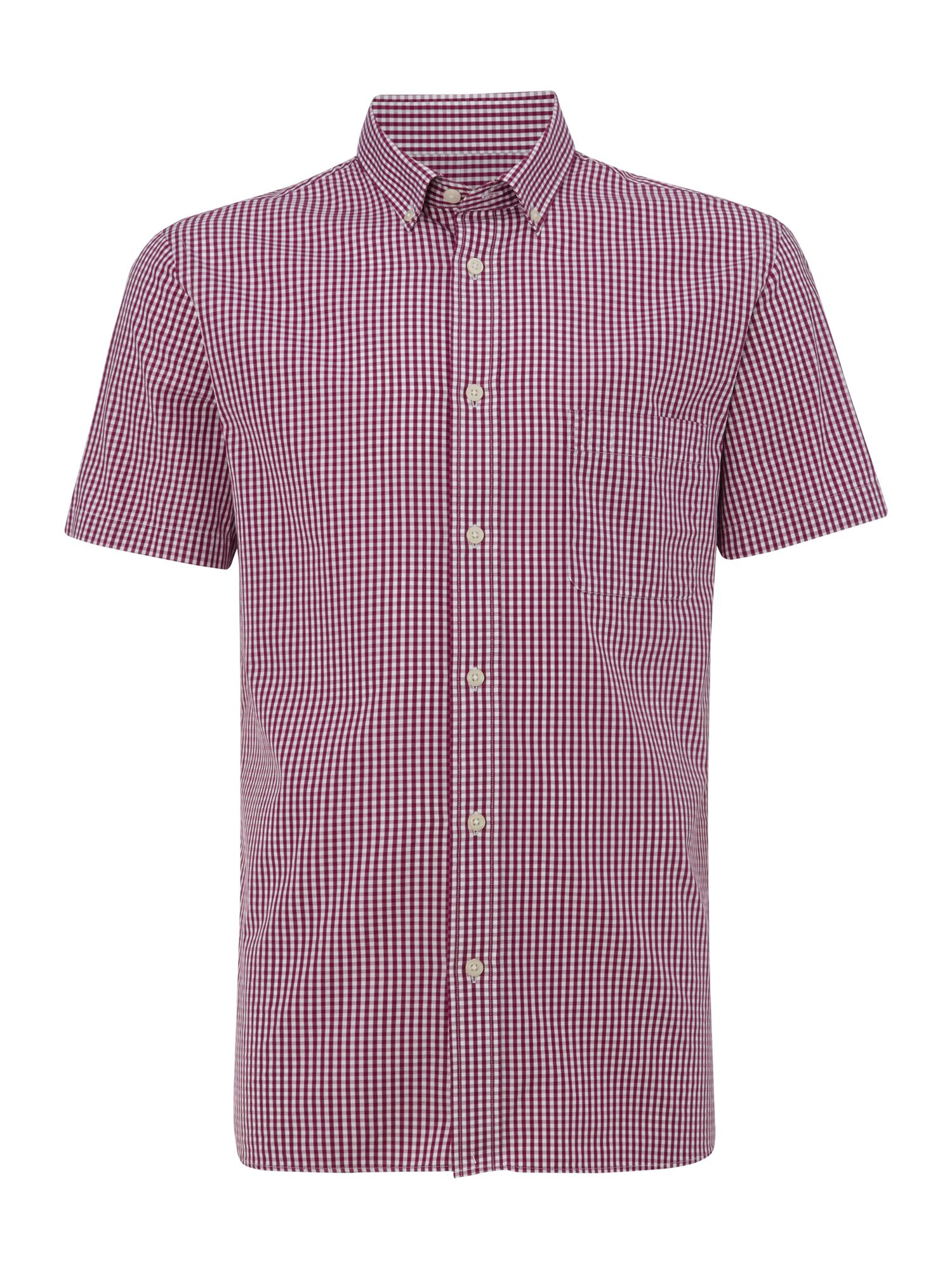 Gingham short sleeve classic collar shirt