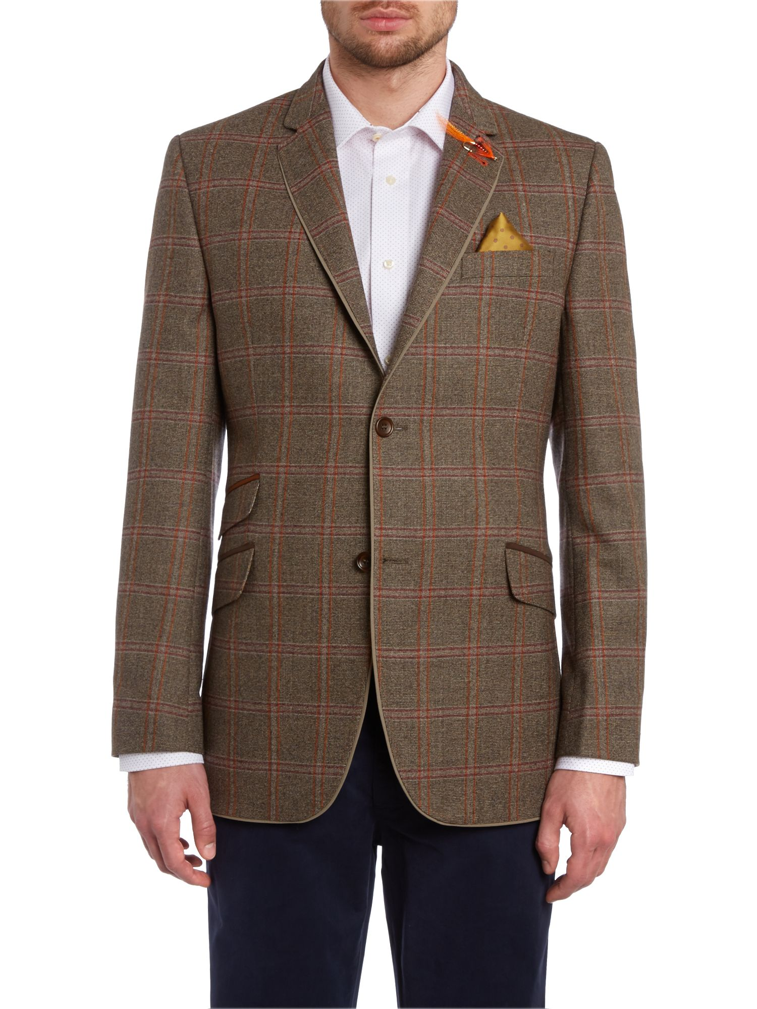 Weyling regular fit tweed textured check jacket