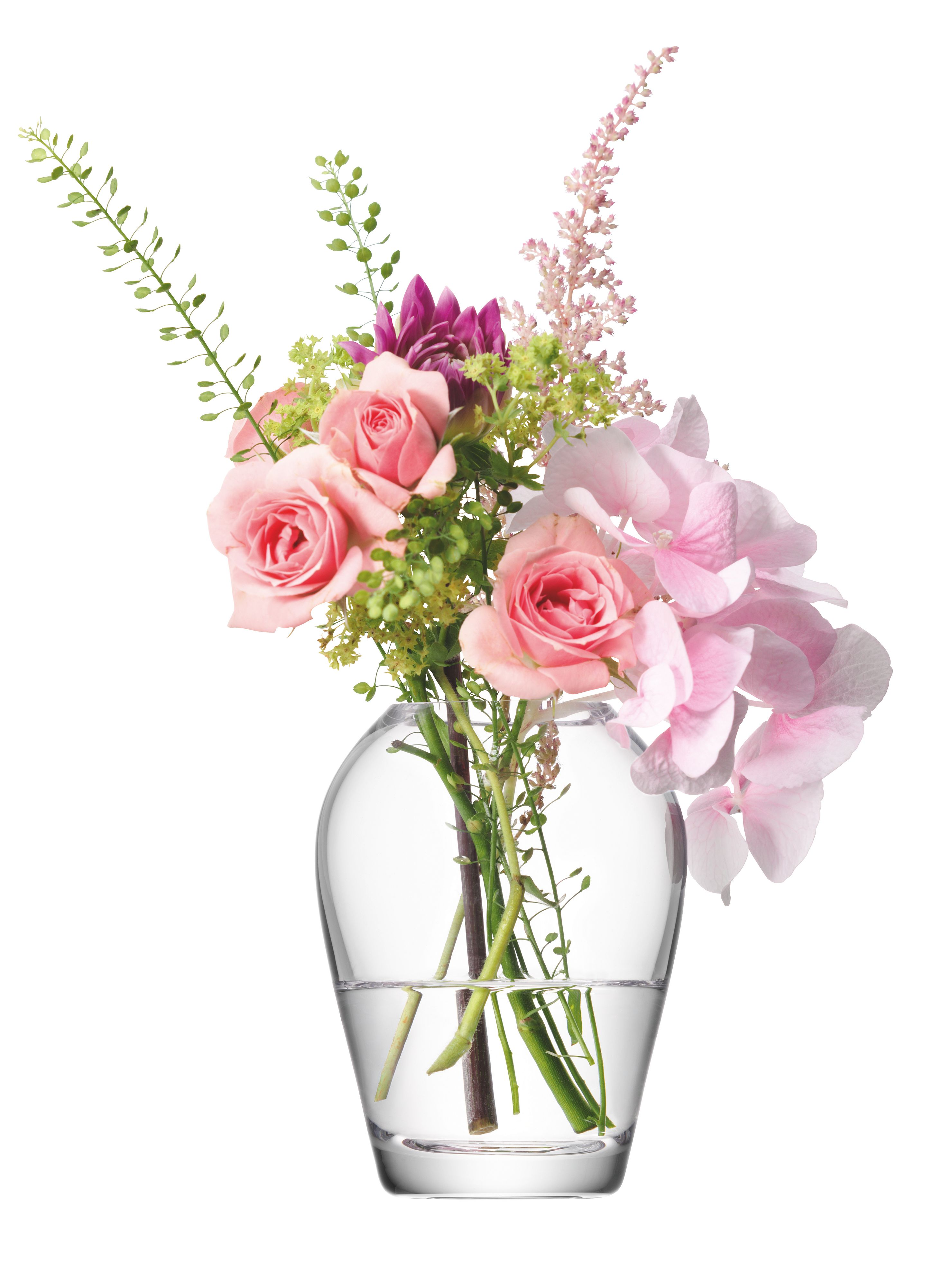 Flower mini bouquet vase height 9.5cm in clear