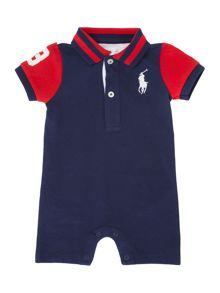 Baby boys pieced romper with small pony logo