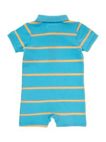 Baby boys stripe romper with small pony logo