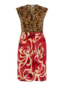 Plus Size Cap sleeve silk mix print dress