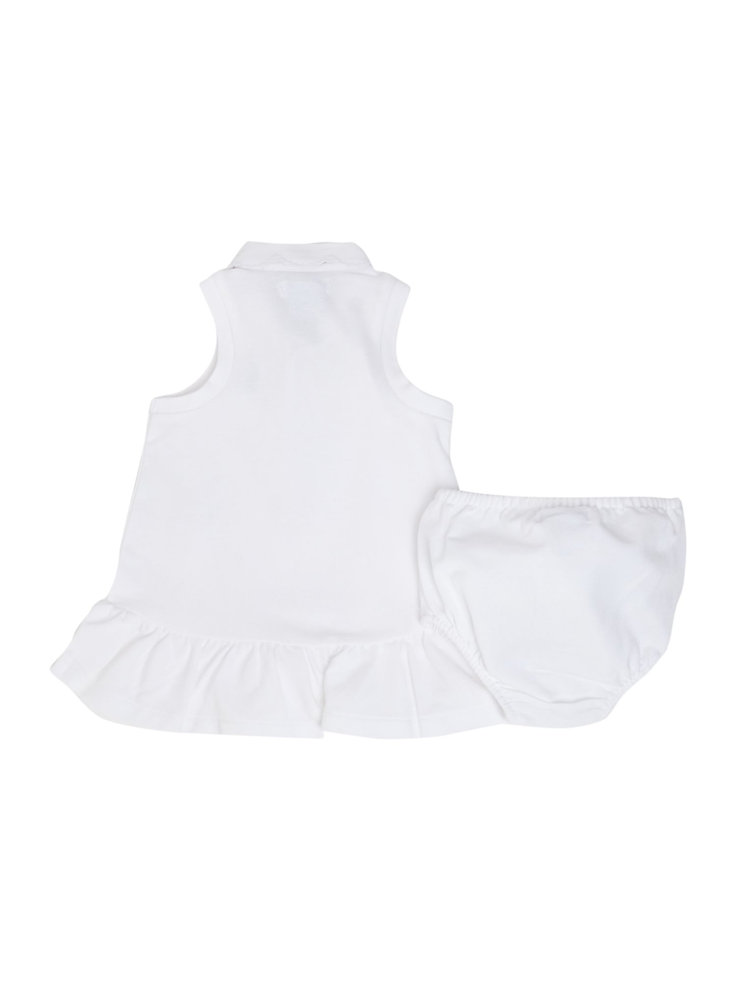 Baby girls broderie collar dress with knickers