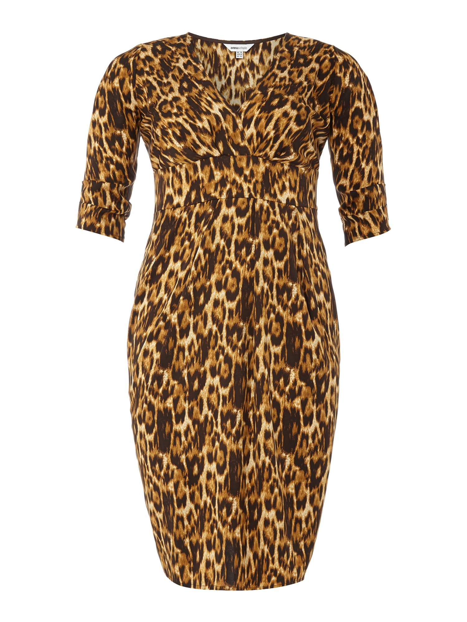 3/4 sleeve leopard print dress