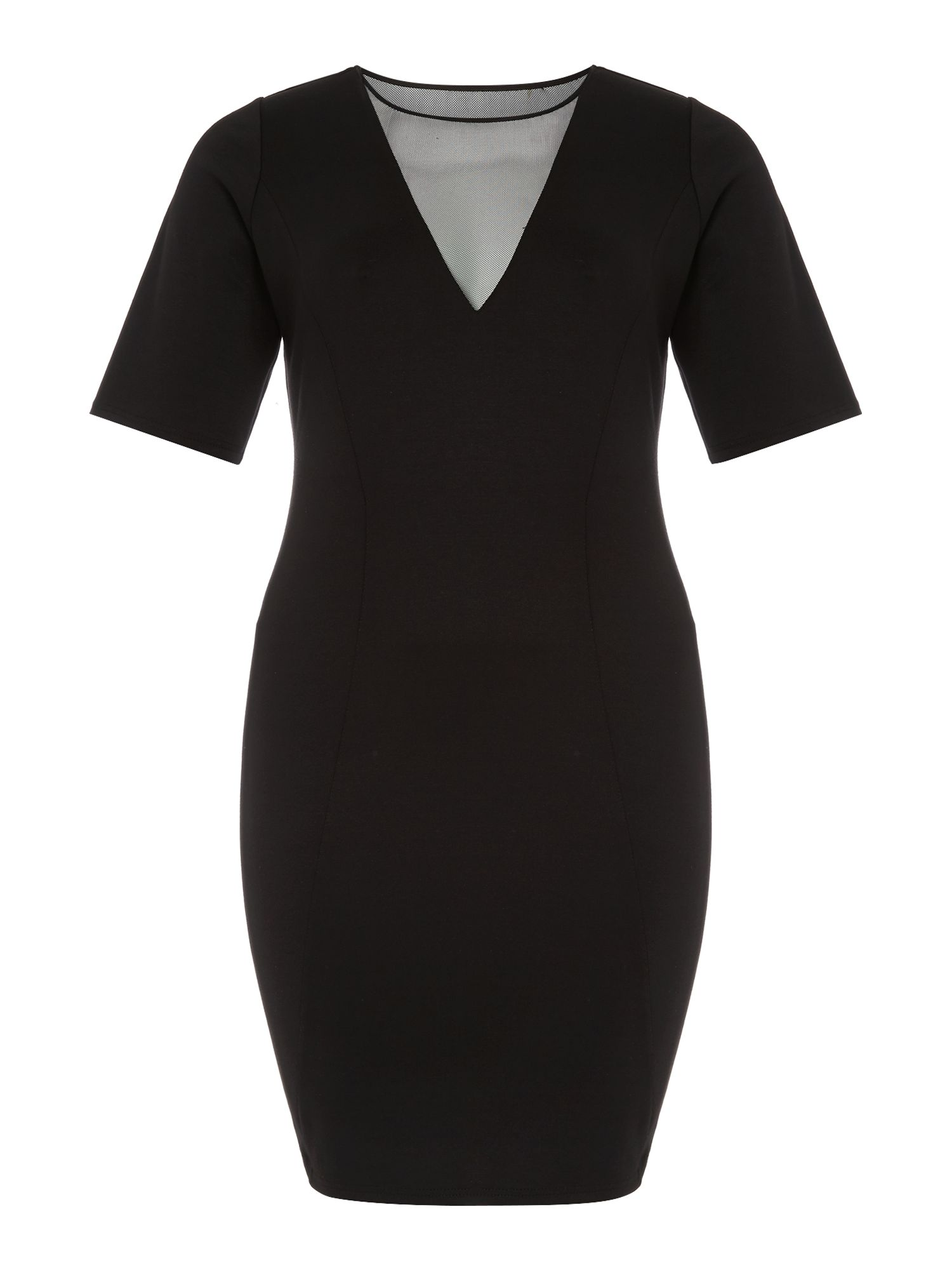 3/4 sleeve mesh front bodycon dress