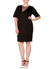 Plus Size 3/4 sleeve mesh front bodycon dress