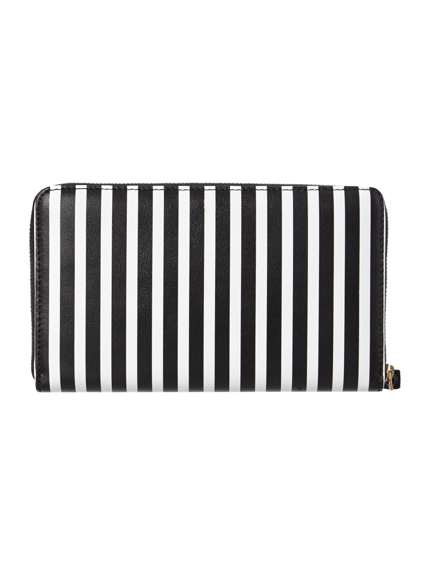 Multi-coloured large stripe zip around purse