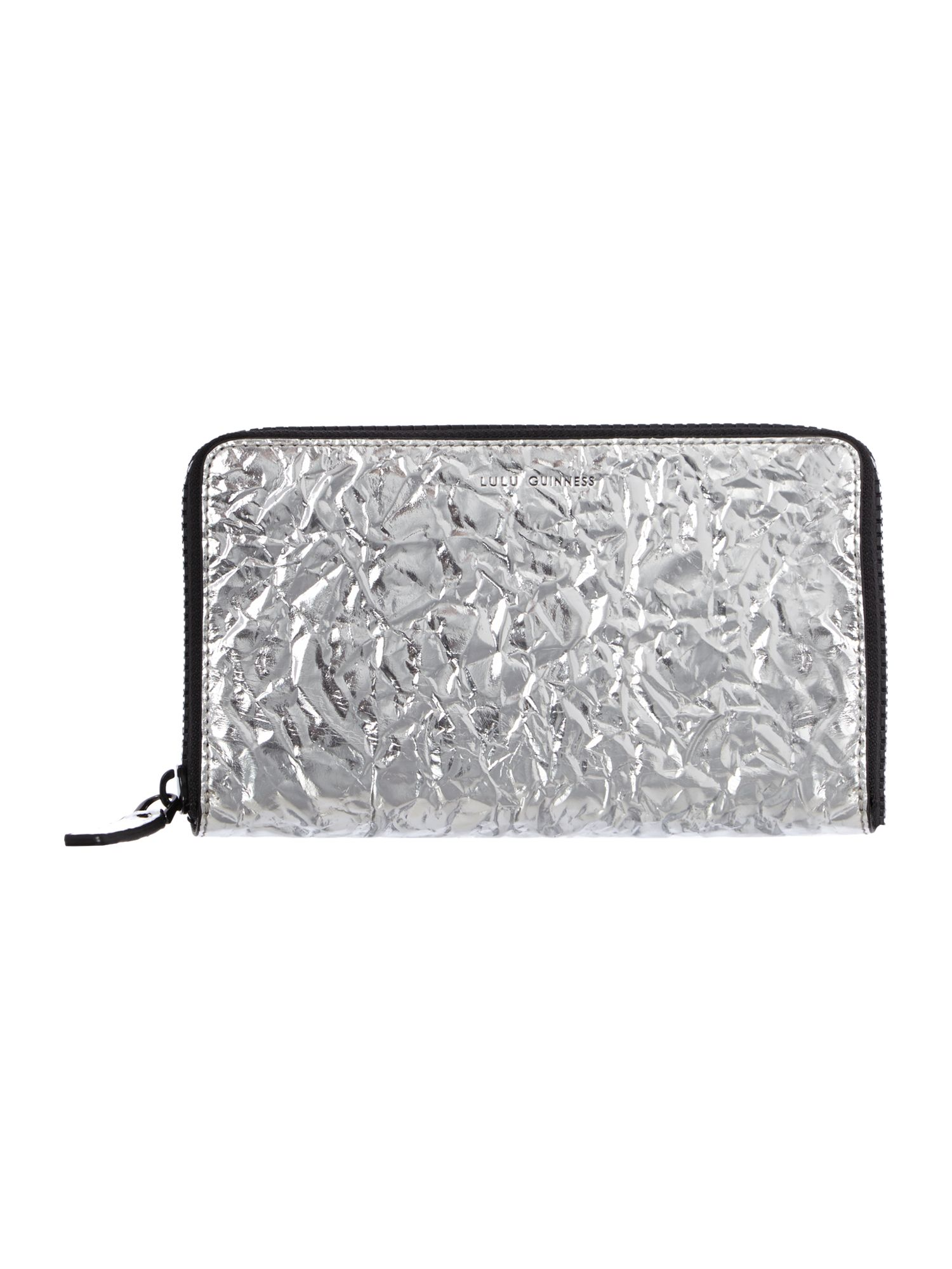 Metallic silver large zip around purse